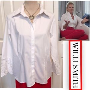 Willi Smith, White Button Down Lace Cuffed Shirt